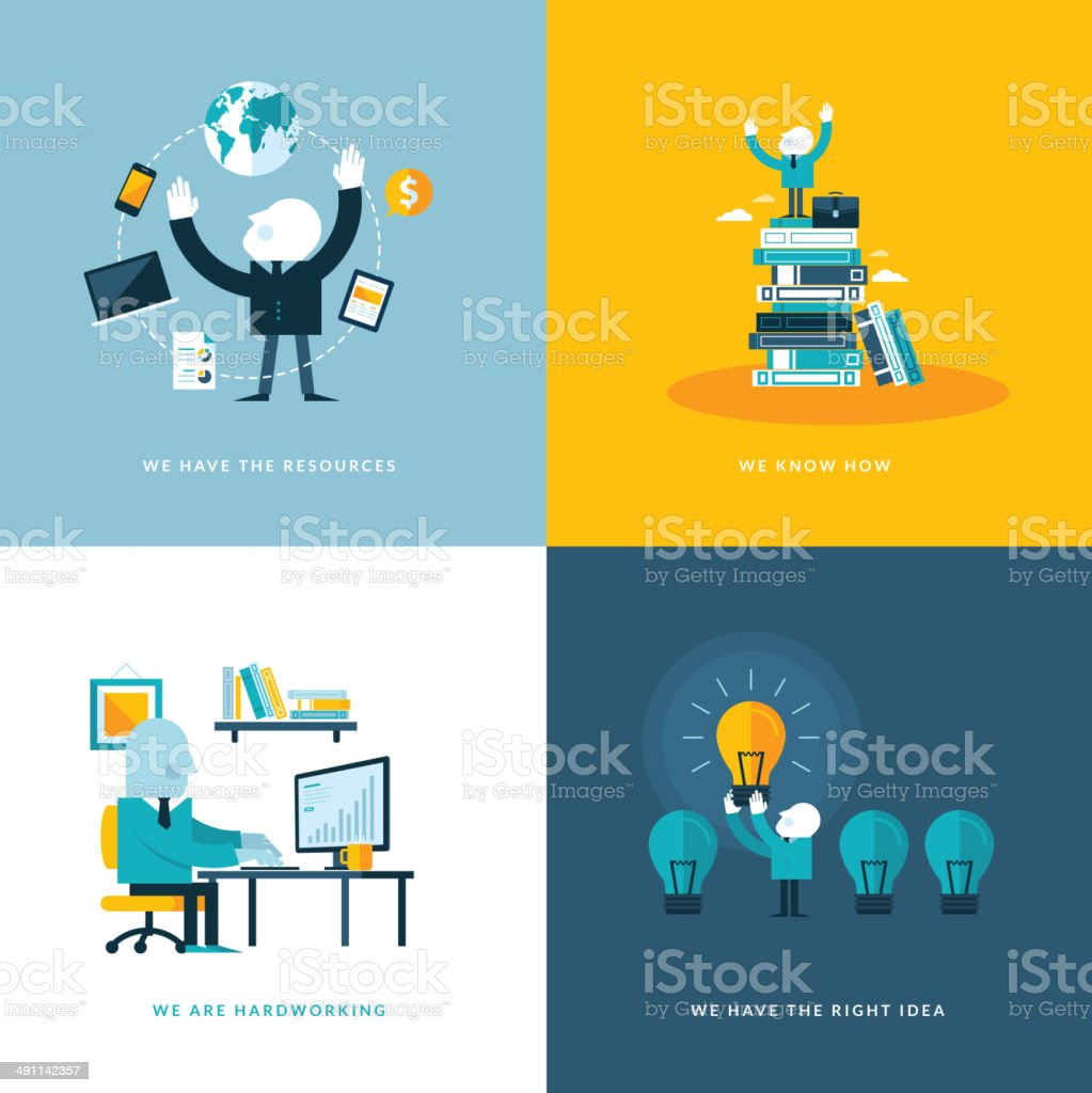 Set of flat design concept icons for business royalty-free stock vector art