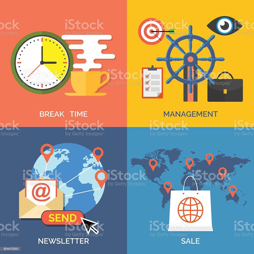Set of flat design concept icons for business. vector art illustration