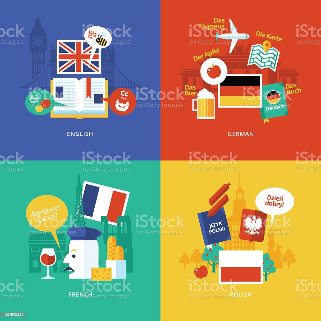 Set of flat design concept icons for foreign languages. vector art illustration