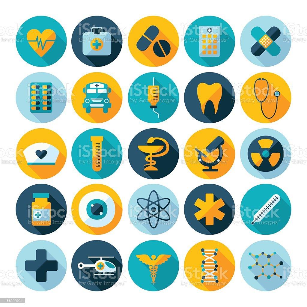 Set of flat design concept icons for medicine vector art illustration