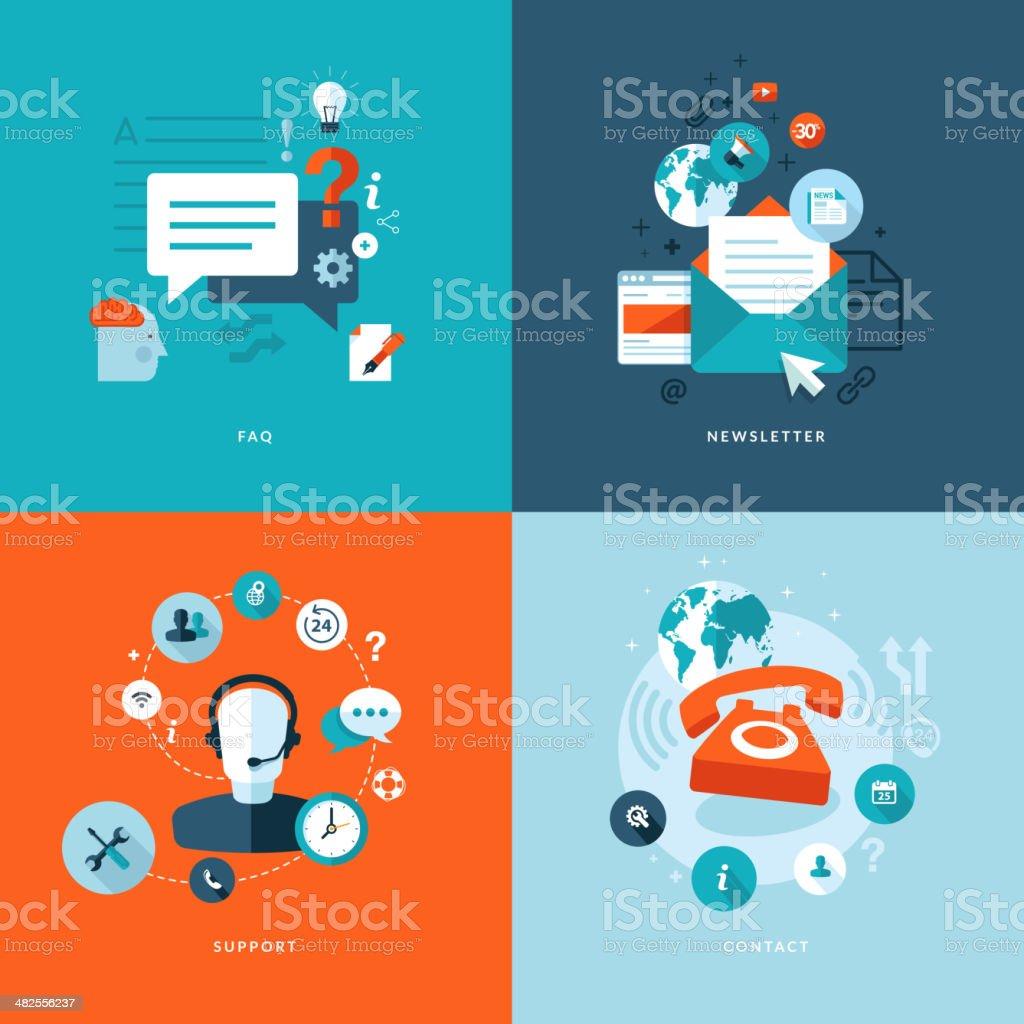 Conjunto de iconos de concepto de diseño plano para los servicios en línea illustracion libre de derechos libre de derechos
