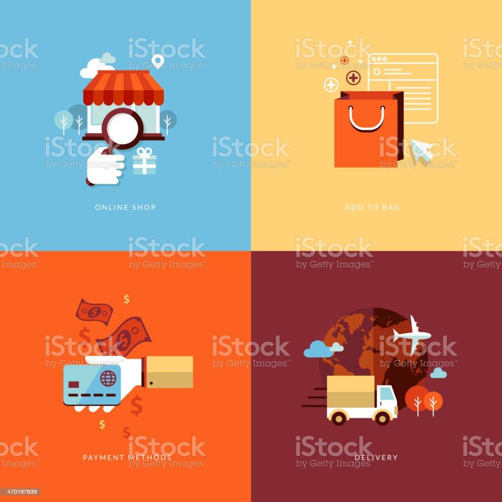 Conjunto de iconos de diseño plano concepto de compras en línea illustracion libre de derechos libre de derechos