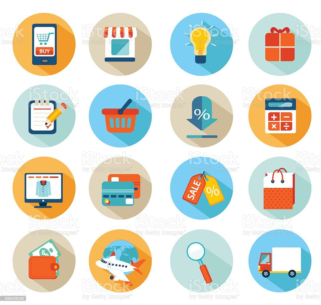 Set of flat design concept icons for online shopping. vector art illustration