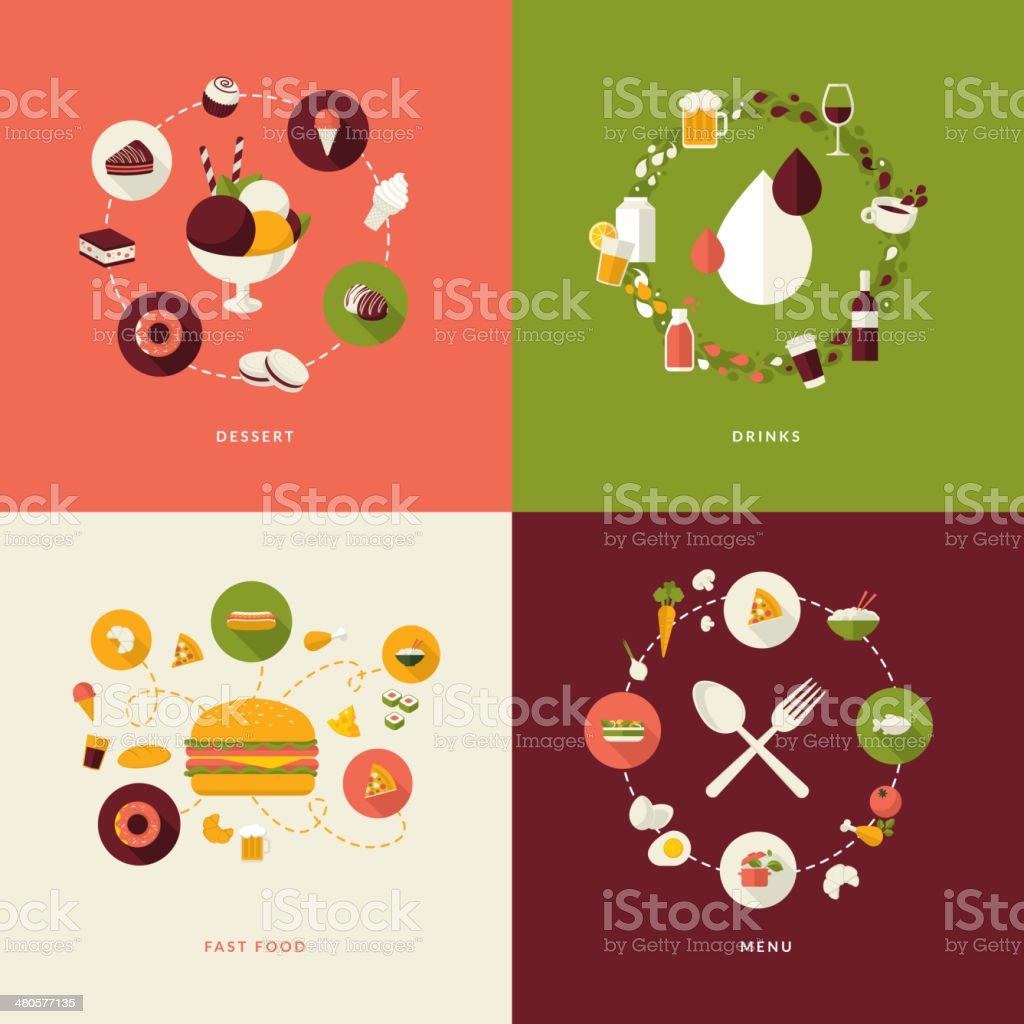 Conjunto de iconos de concepto de diseño plano para restaurante illustracion libre de derechos libre de derechos