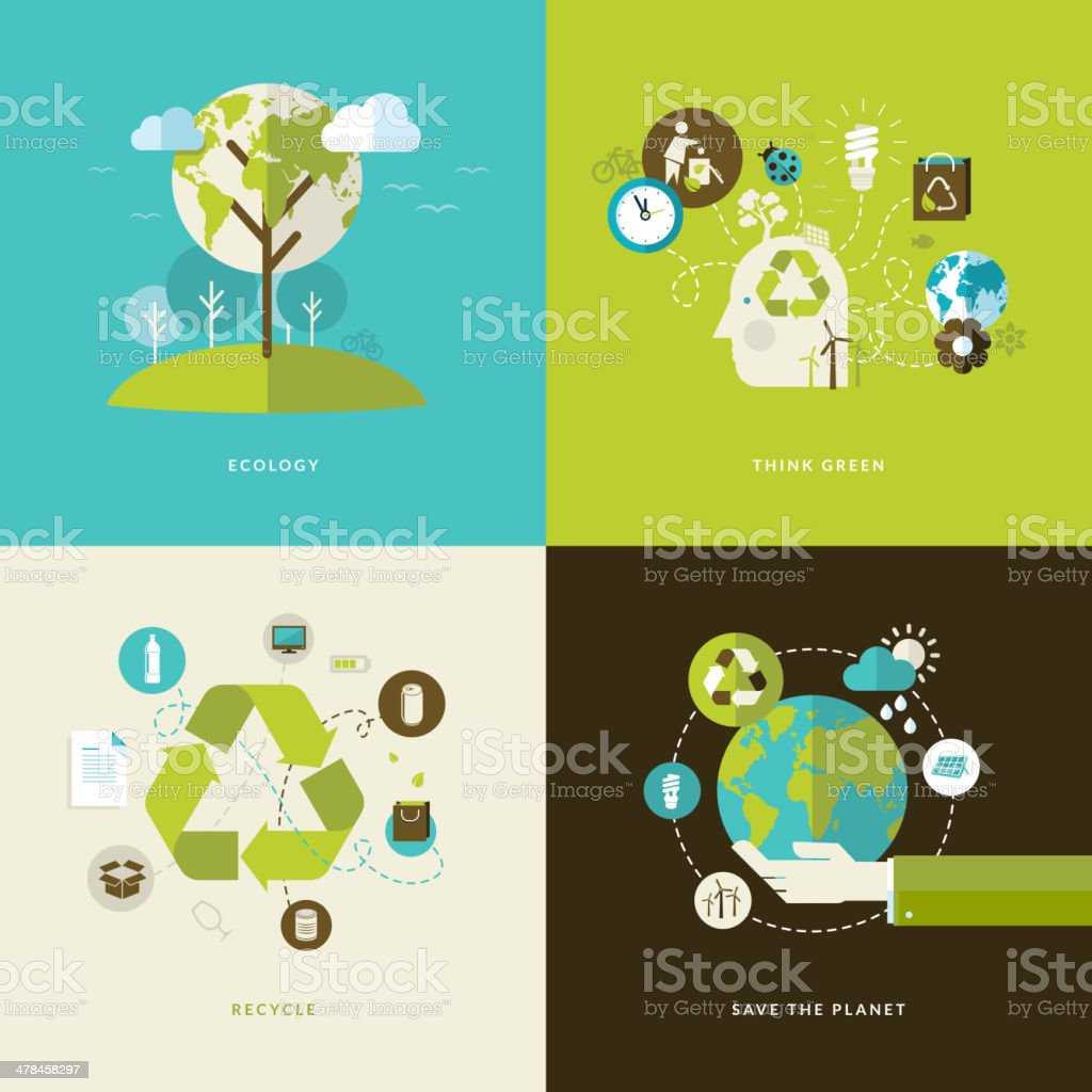 Set of flat design concept icons on ecology theme vector art illustration