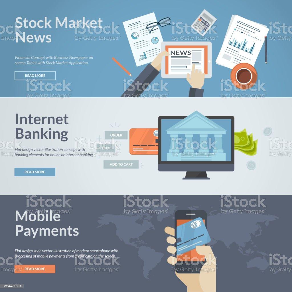 Conjunto de conceptos de diseño plano para banca illustracion libre de derechos libre de derechos