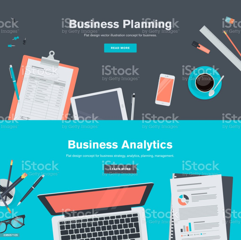 Set of flat design concepts for business planning and analytics vector art illustration