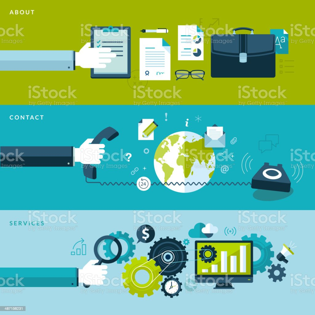Set of flat design concepts for business vector art illustration