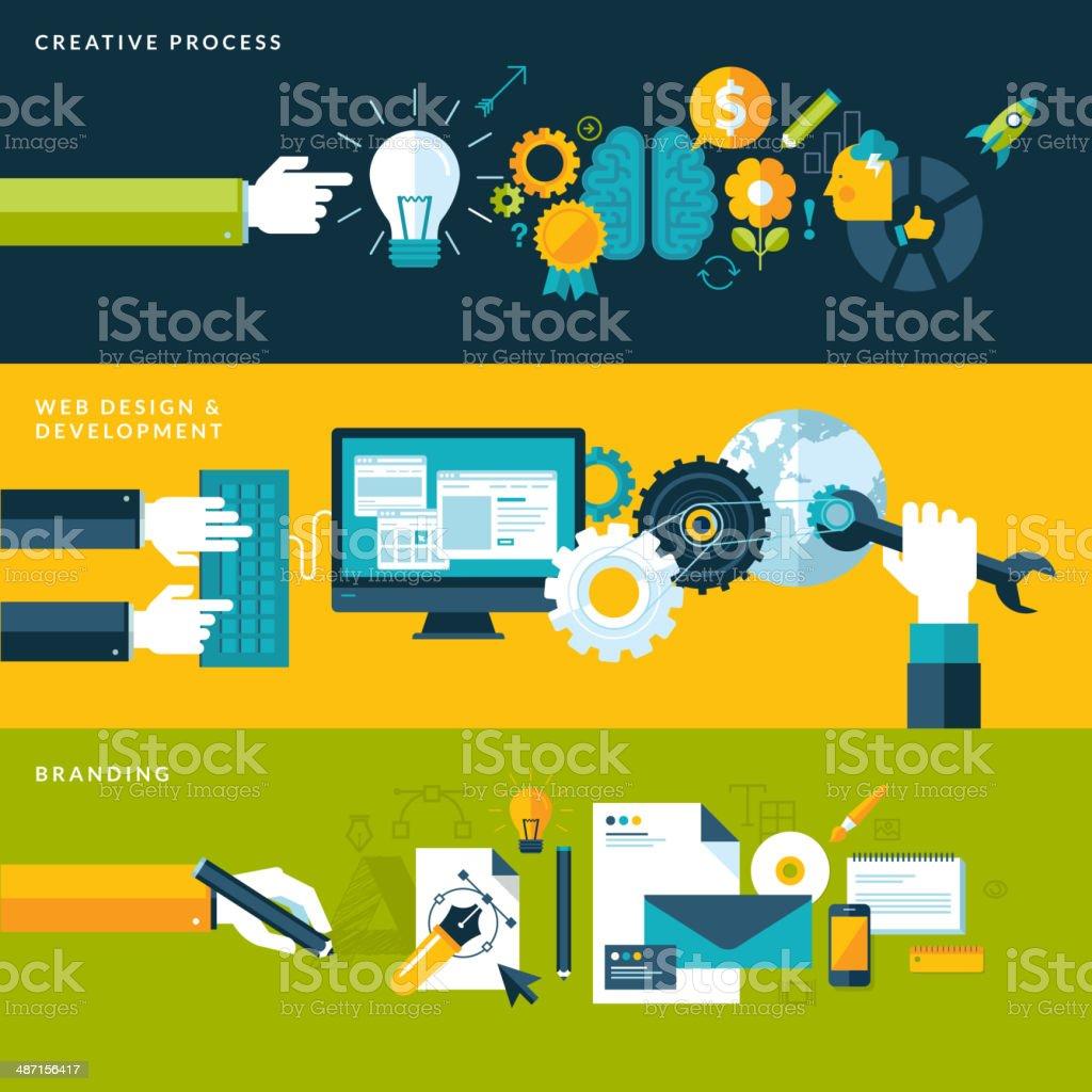 Conjunto de conceptos de diseño plano para el proceso creativo illustracion libre de derechos libre de derechos