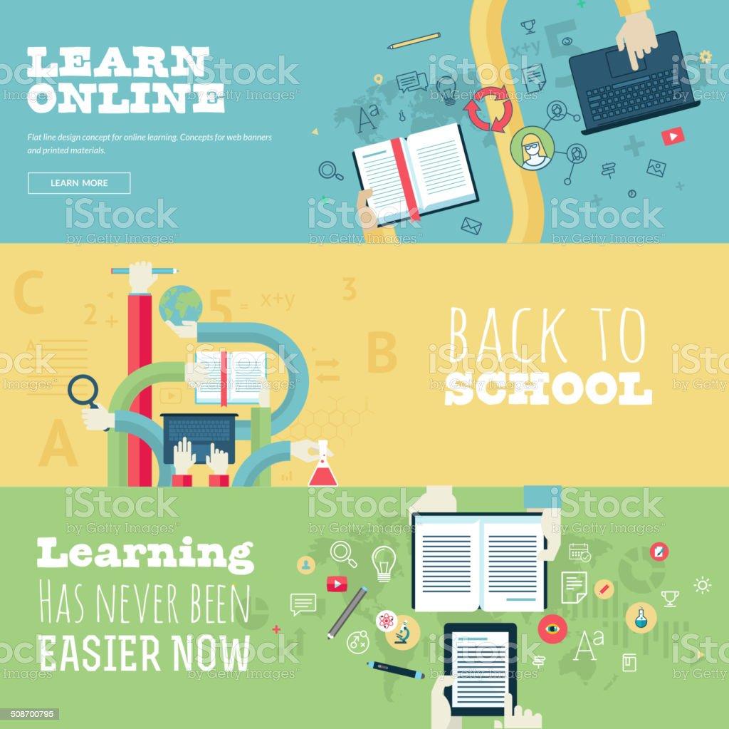 Conjunto de conceptos de diseño plano para la educación illustracion libre de derechos libre de derechos