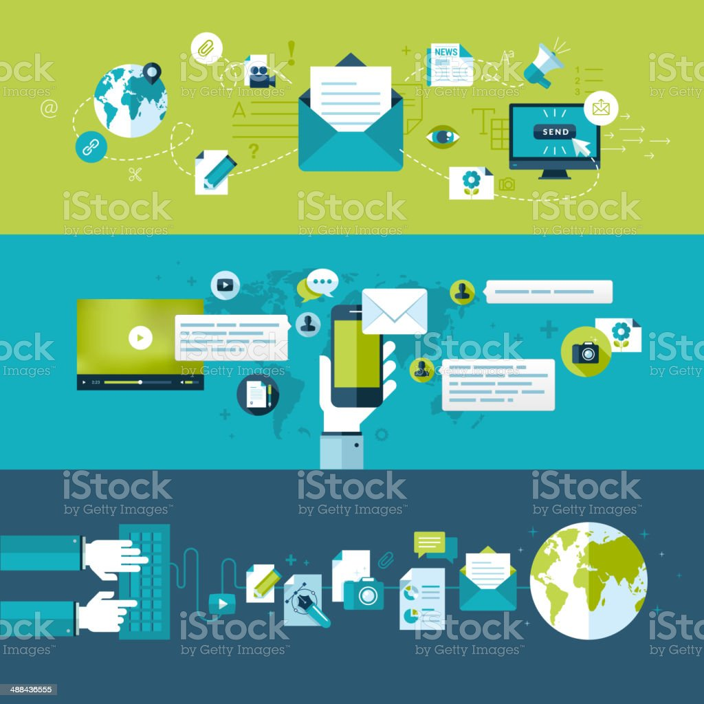 Set of flat design concepts for email royalty-free stock vector art