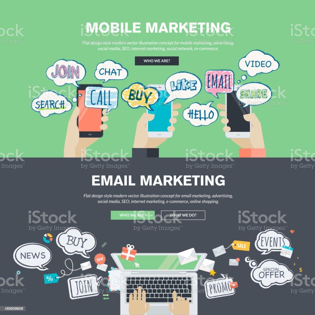Conjunto de conceptos de diseño plano para el marketing móvil y correo electrónico illustracion libre de derechos libre de derechos