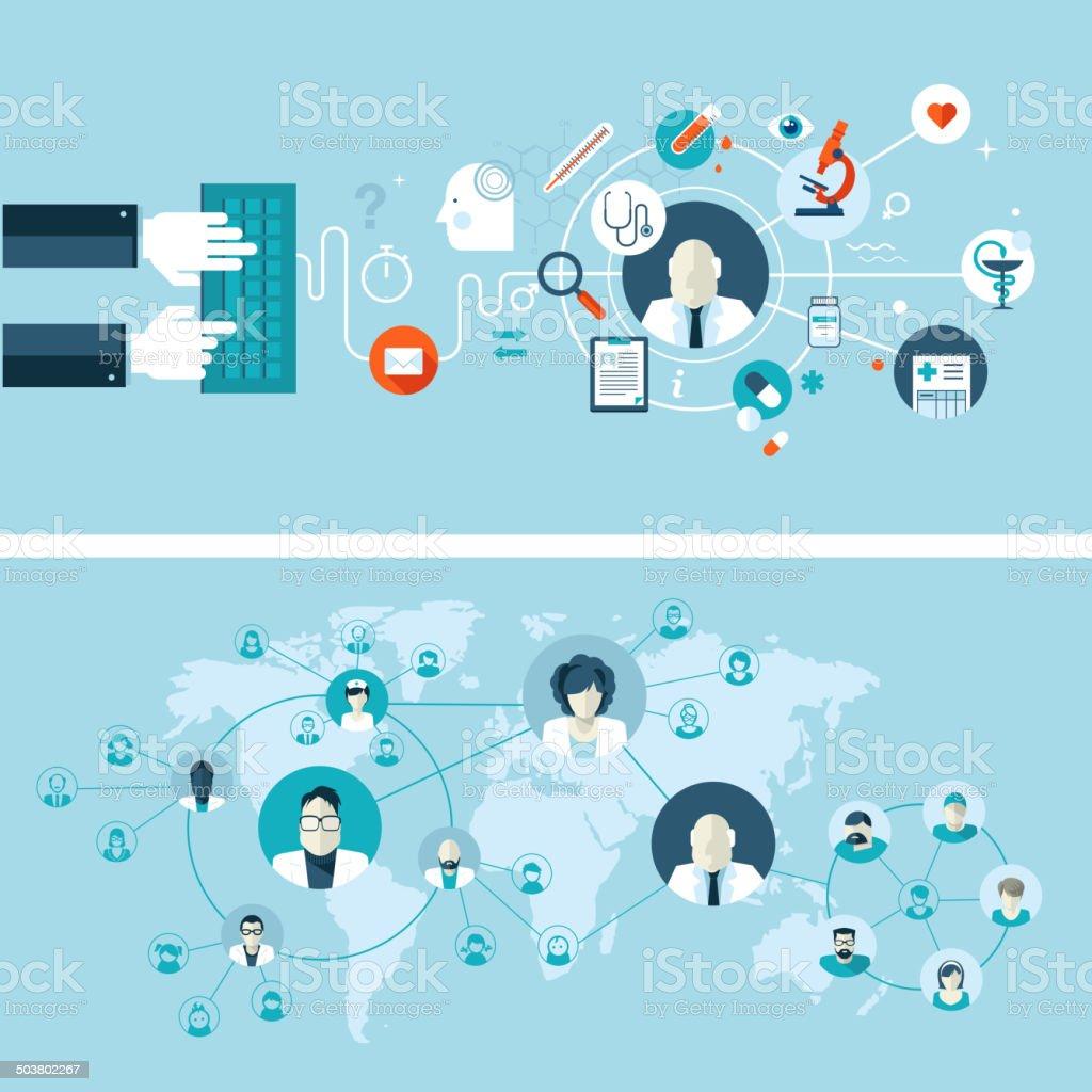 Set of flat design concepts for online medical services vector art illustration