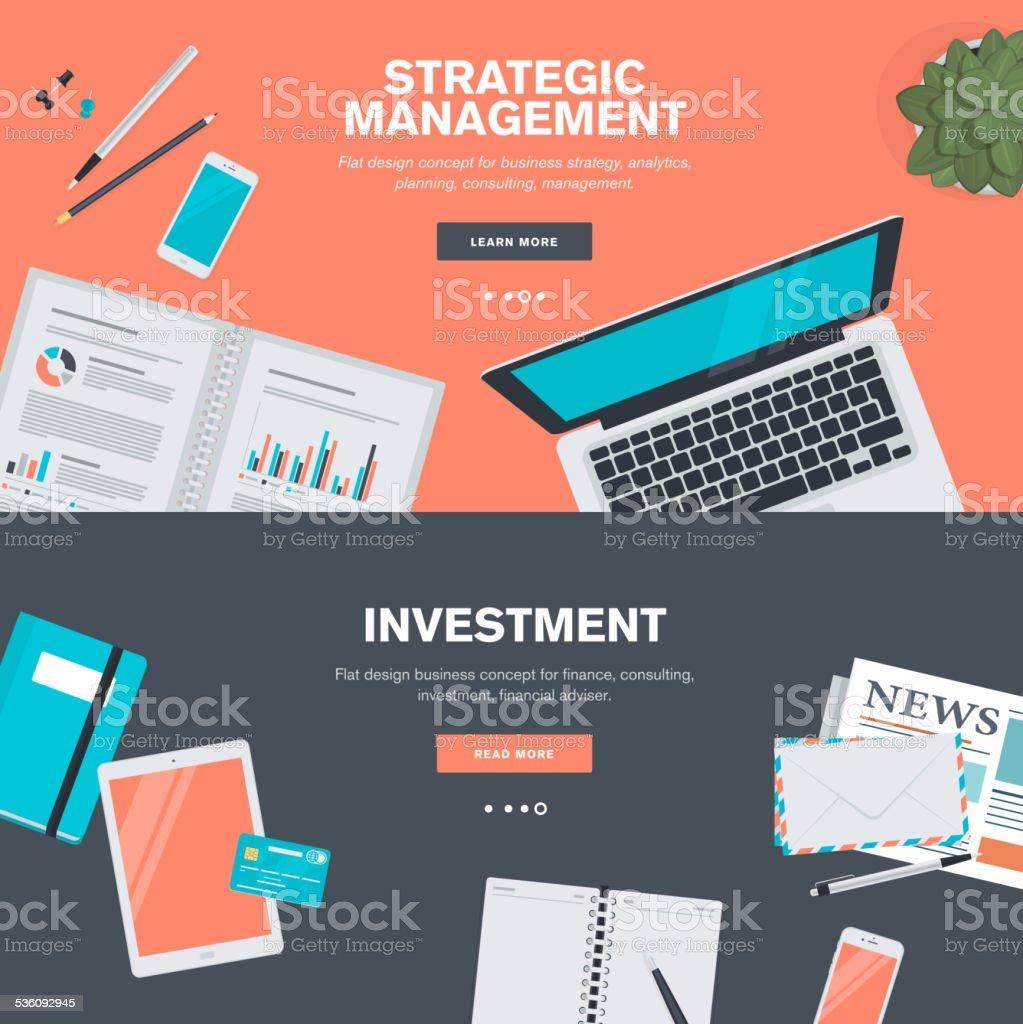 Conjunto de conceptos de diseño plano para planificación y gestión de inversiones illustracion libre de derechos libre de derechos