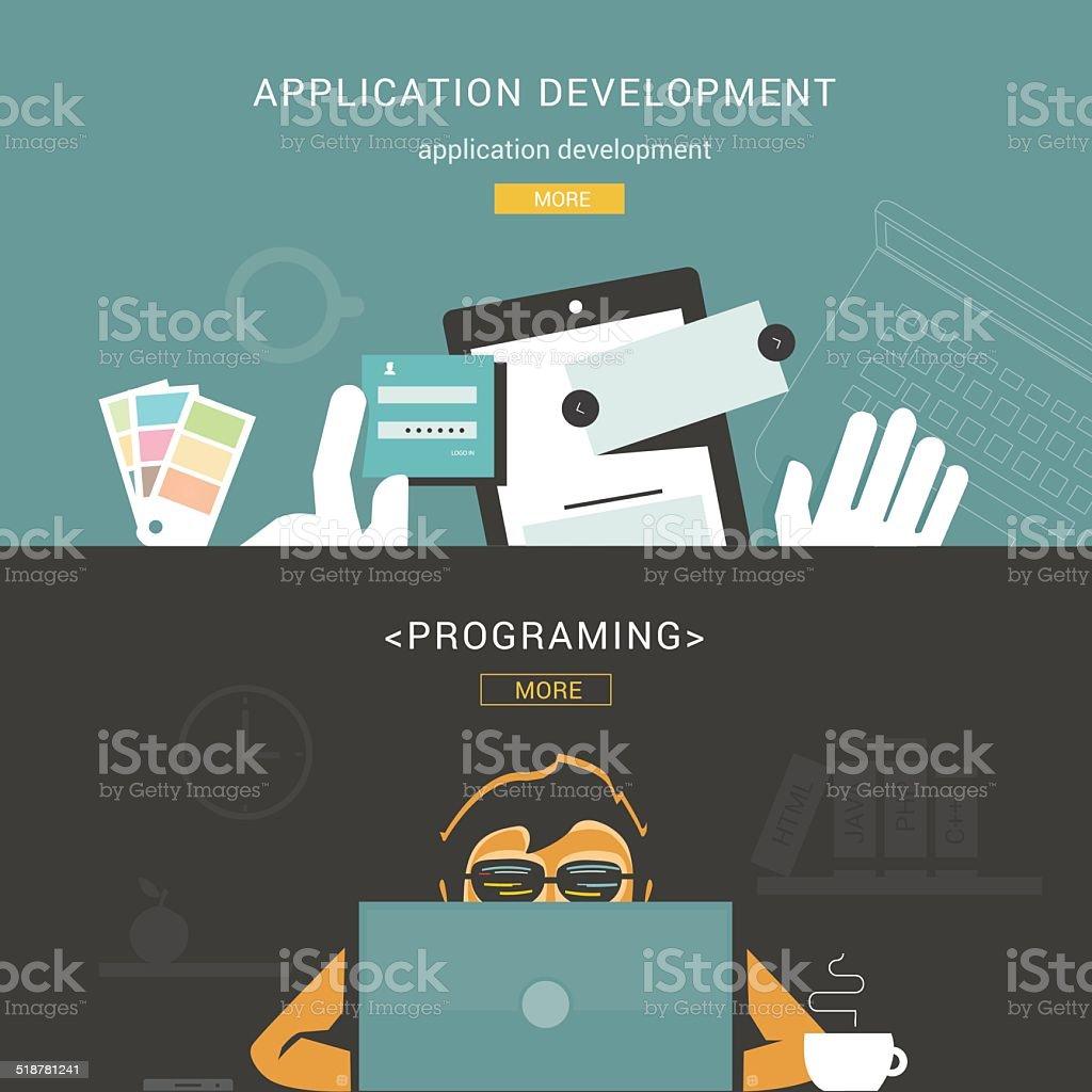 Set of Flat Design Concepts for Web Application Development vector art illustration
