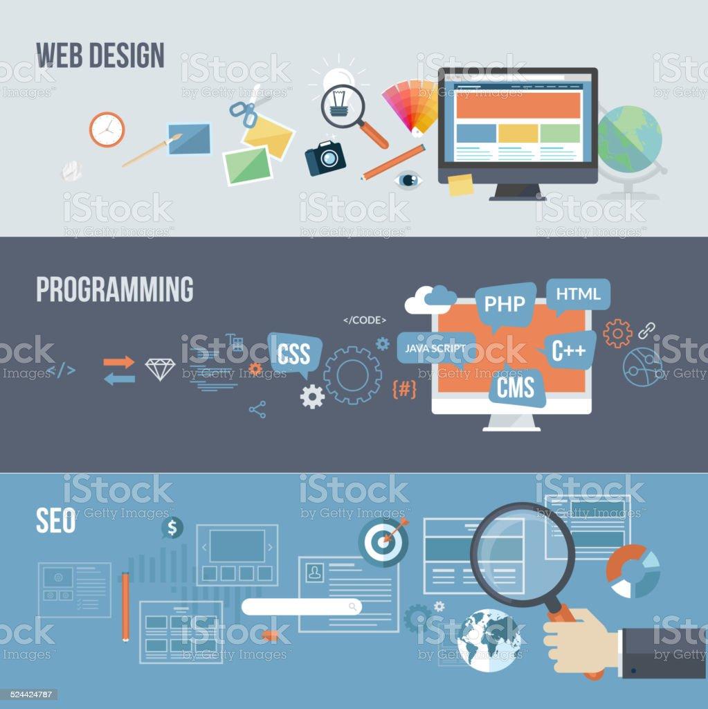Conjunto de conceptos de diseño plano para Desarrollo web illustracion libre de derechos libre de derechos