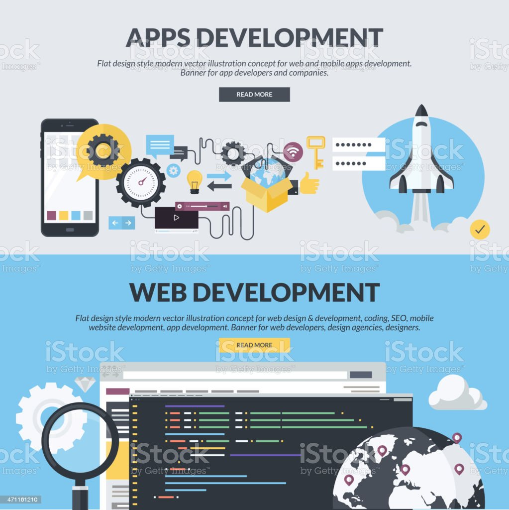 Set of flat design concepts for website design and development vector art illustration