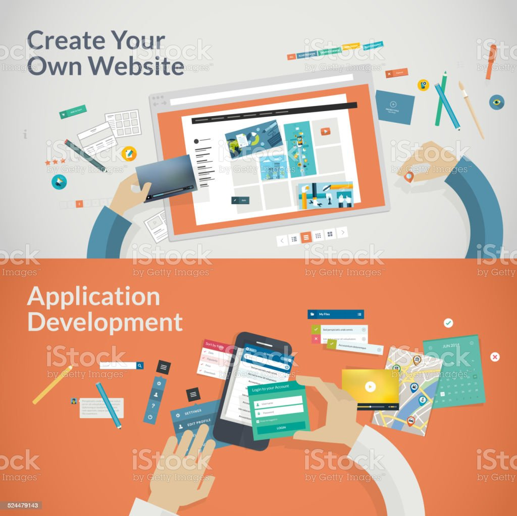 Set of flat design concepts for websites and applications development vector art illustration