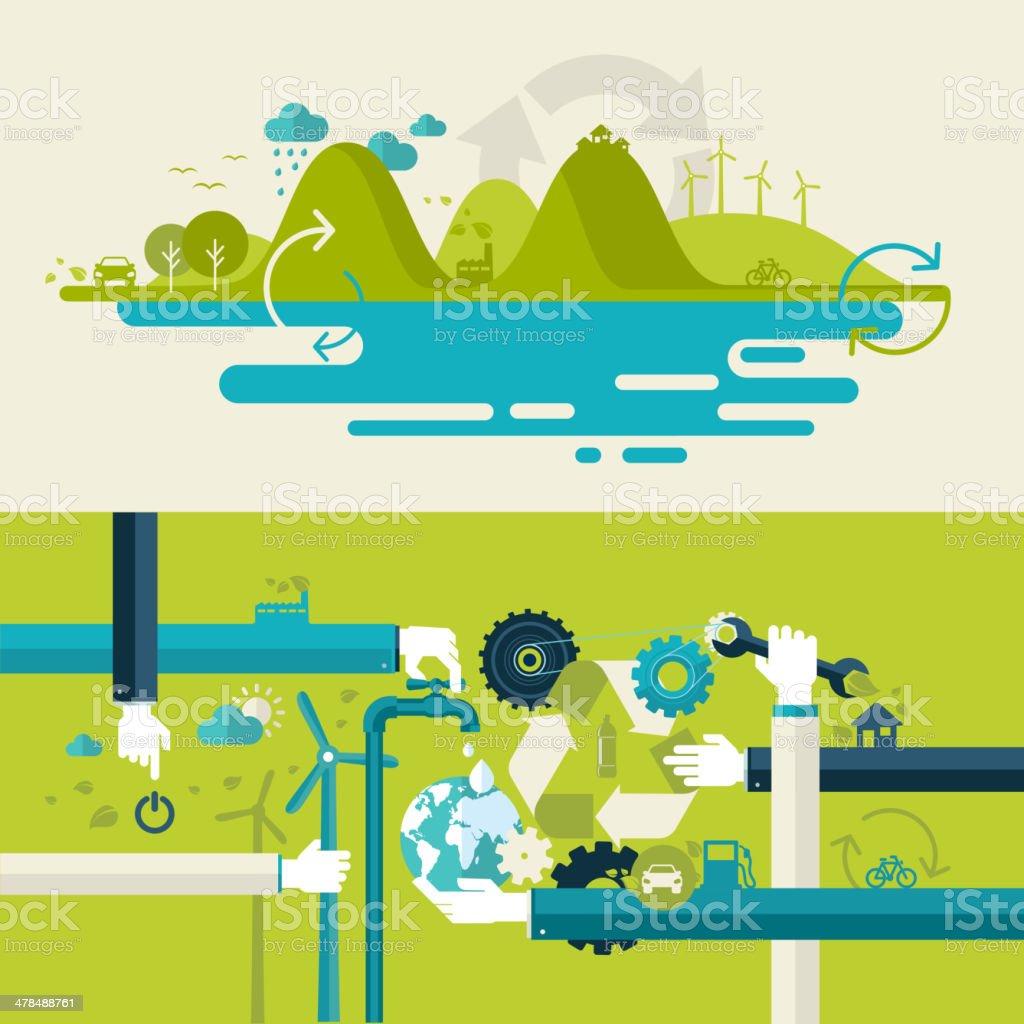 Set of flat design concepts on ecology theme vector art illustration