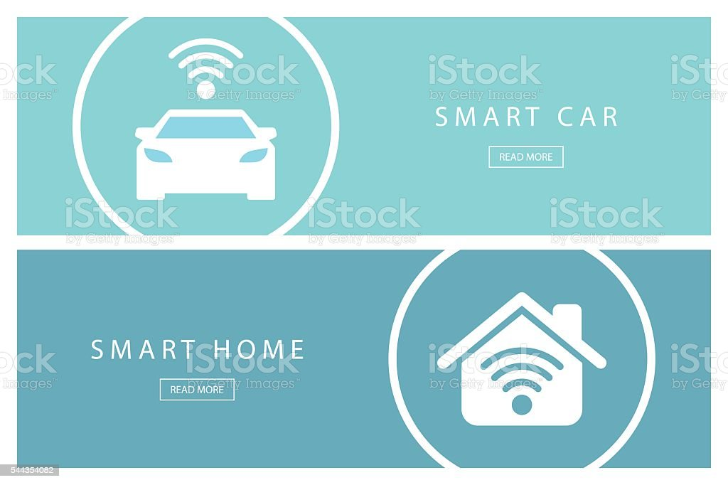 Set of flat design concepts Smart car and Smart home. vector art illustration