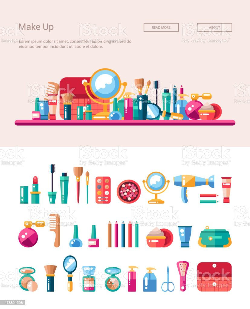 Set of flat design cosmetics, make up icons and elements vector art illustration