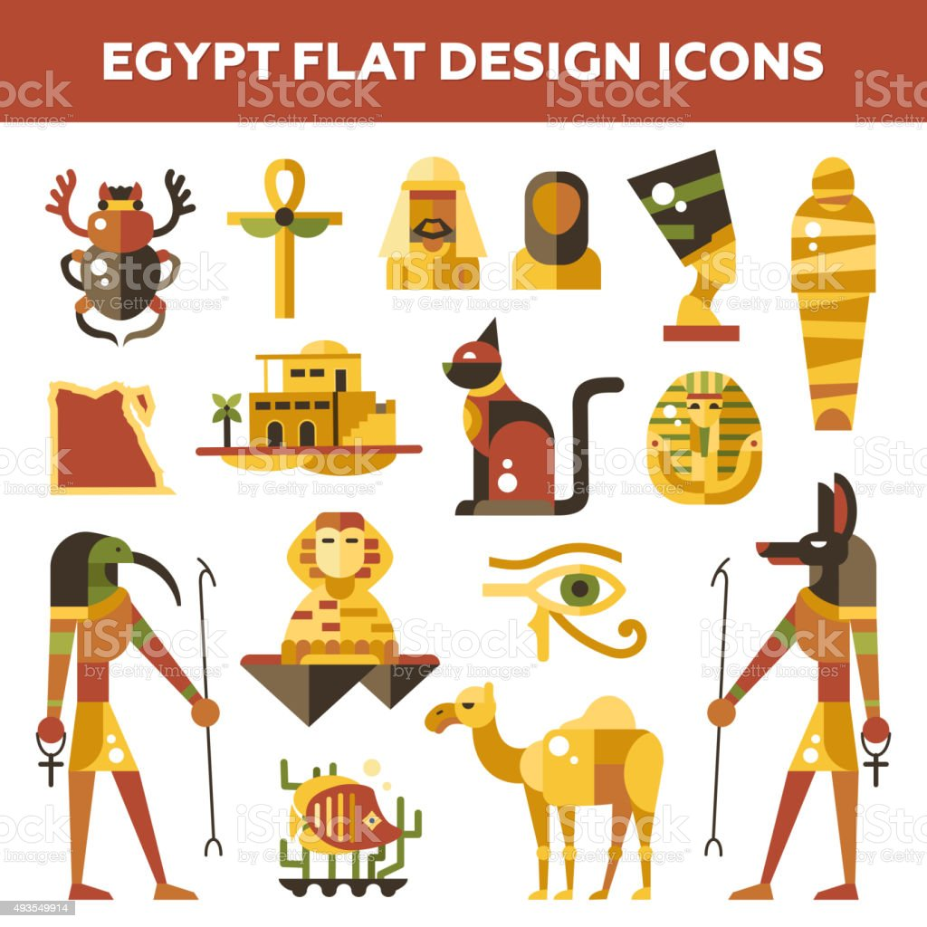 Set of flat design Egypt travel icons, infographics elements with vector art illustration