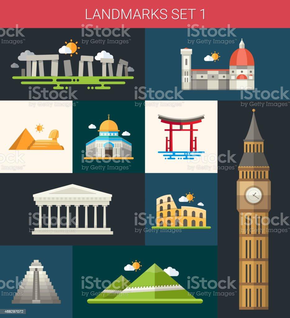 Set of flat design famous world landmarks icons vector art illustration