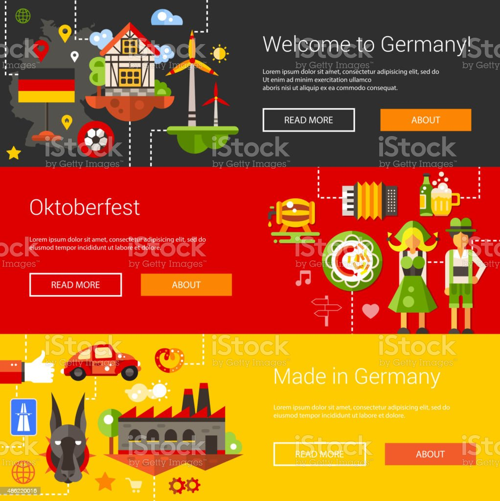 Set of flat design flyers, headers with Germany travel, tourism vector art illustration