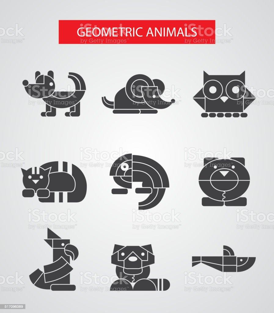 Set of flat design geometric animals icons vector art illustration
