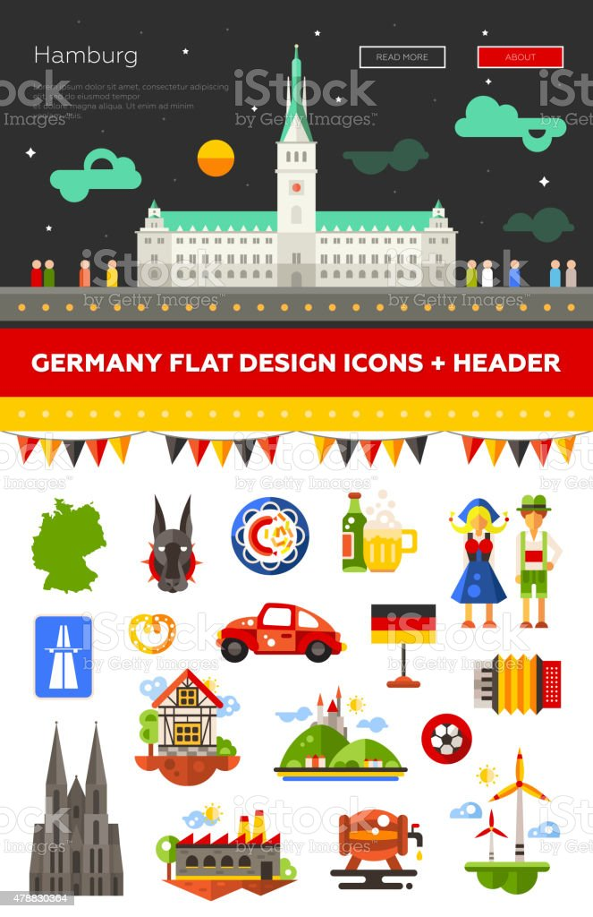 Set of flat design Germany travel icons, infographics elements with vector art illustration