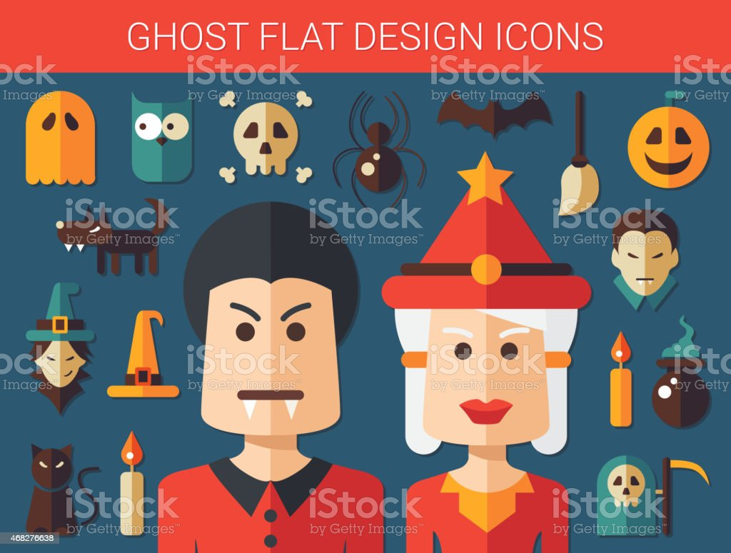 Set of flat design ghost icons vector art illustration