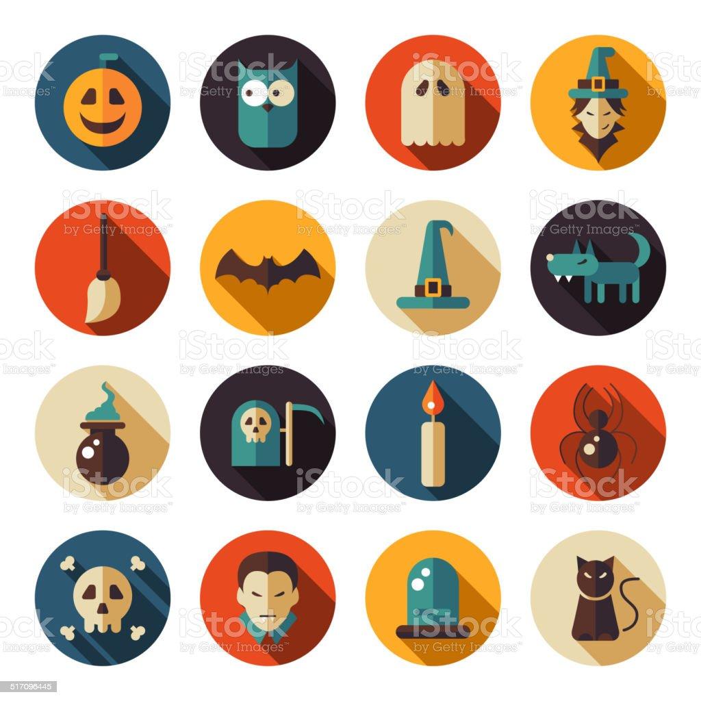 Set of flat design Halloween icons vector art illustration