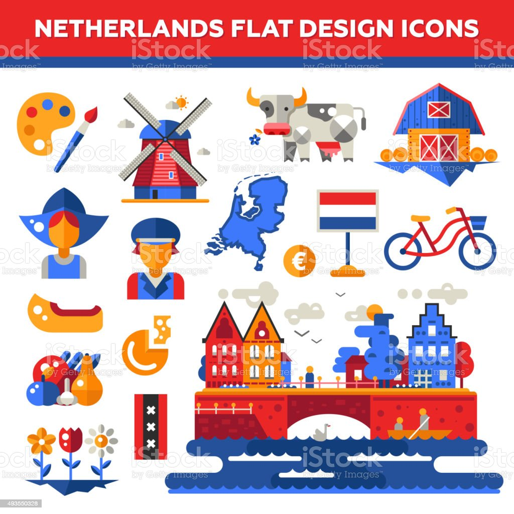 Set of flat design Holland travel icons, infographics elements with vector art illustration