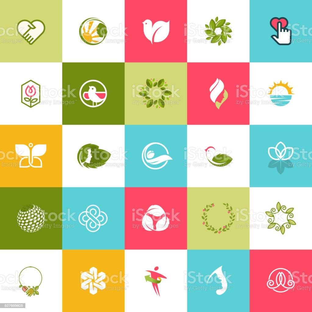 Conjunto de iconos de diseño plano para belleza y la naturaleza illustracion libre de derechos libre de derechos