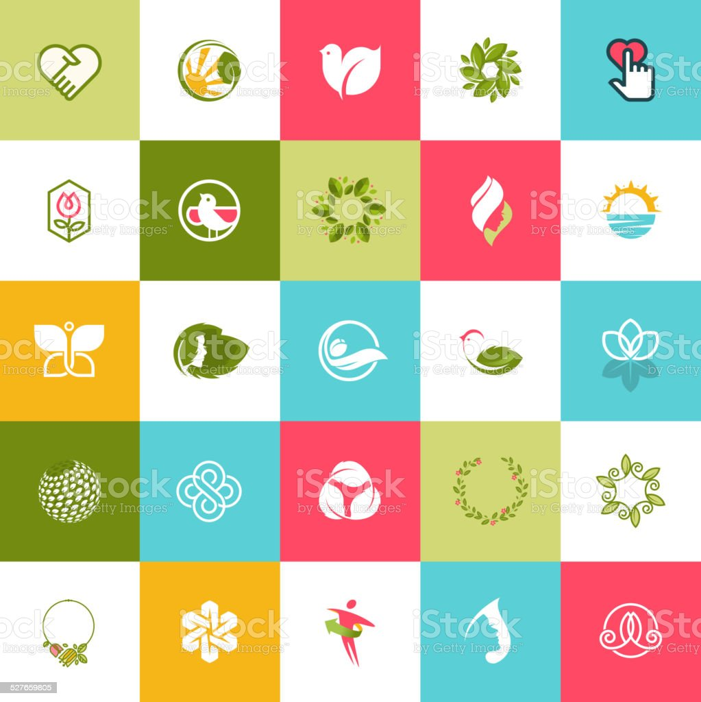 Set of flat design icons for beauty and nature vector art illustration