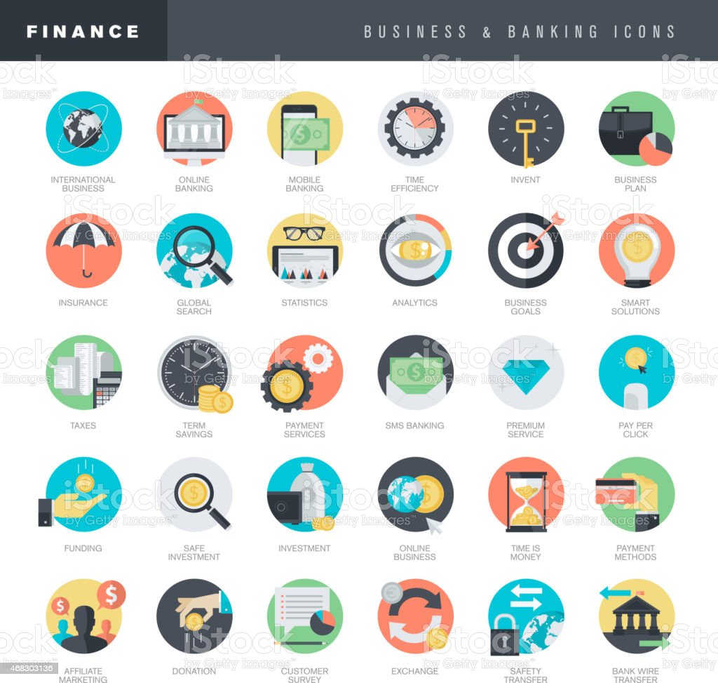 Set of flat design icons for business and banking vector art illustration