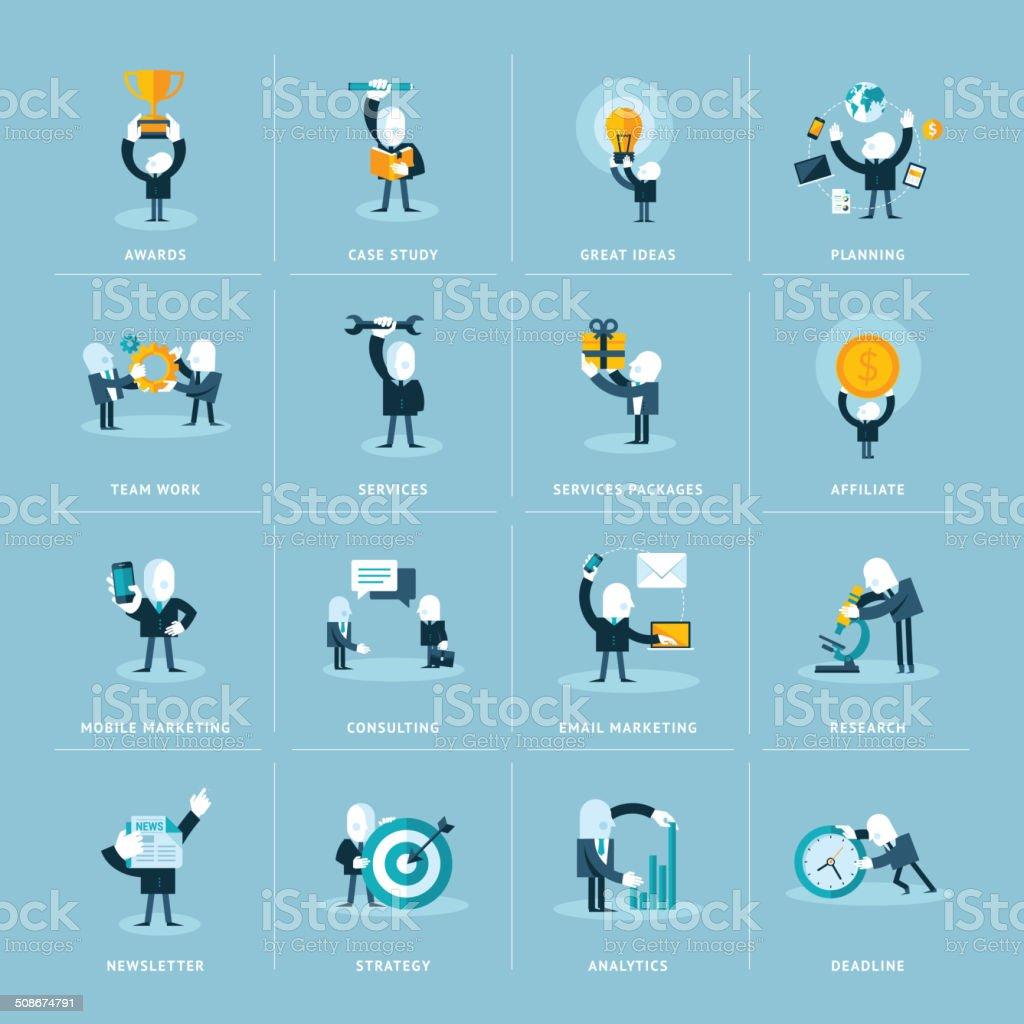 Conjunto de iconos de diseño plano para los negocios y de comercialización illustracion libre de derechos libre de derechos