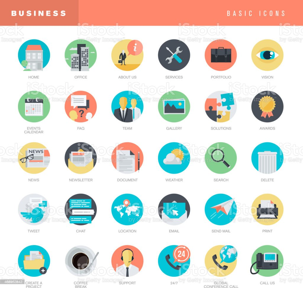 Set of flat design icons for business royalty-free stock vector art
