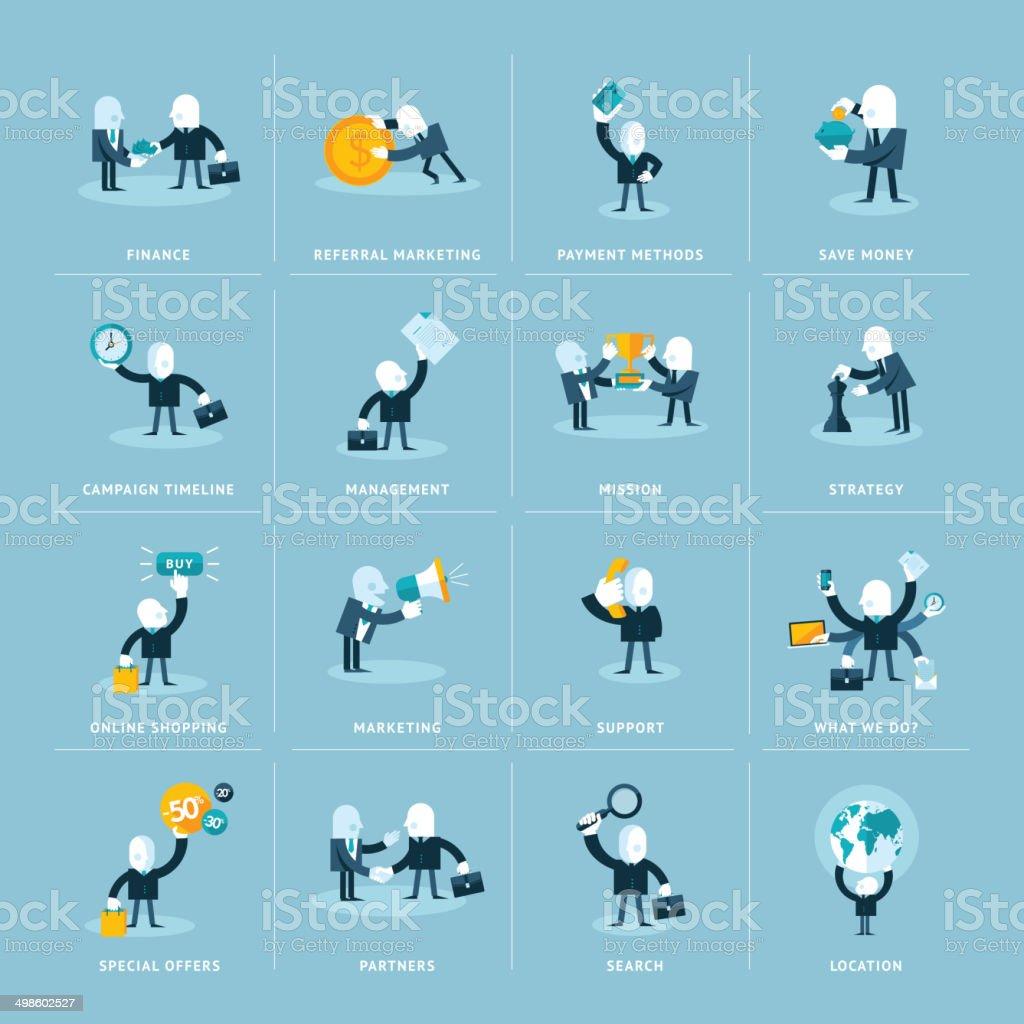 Conjunto de iconos de diseño plano para los negocios illustracion libre de derechos libre de derechos