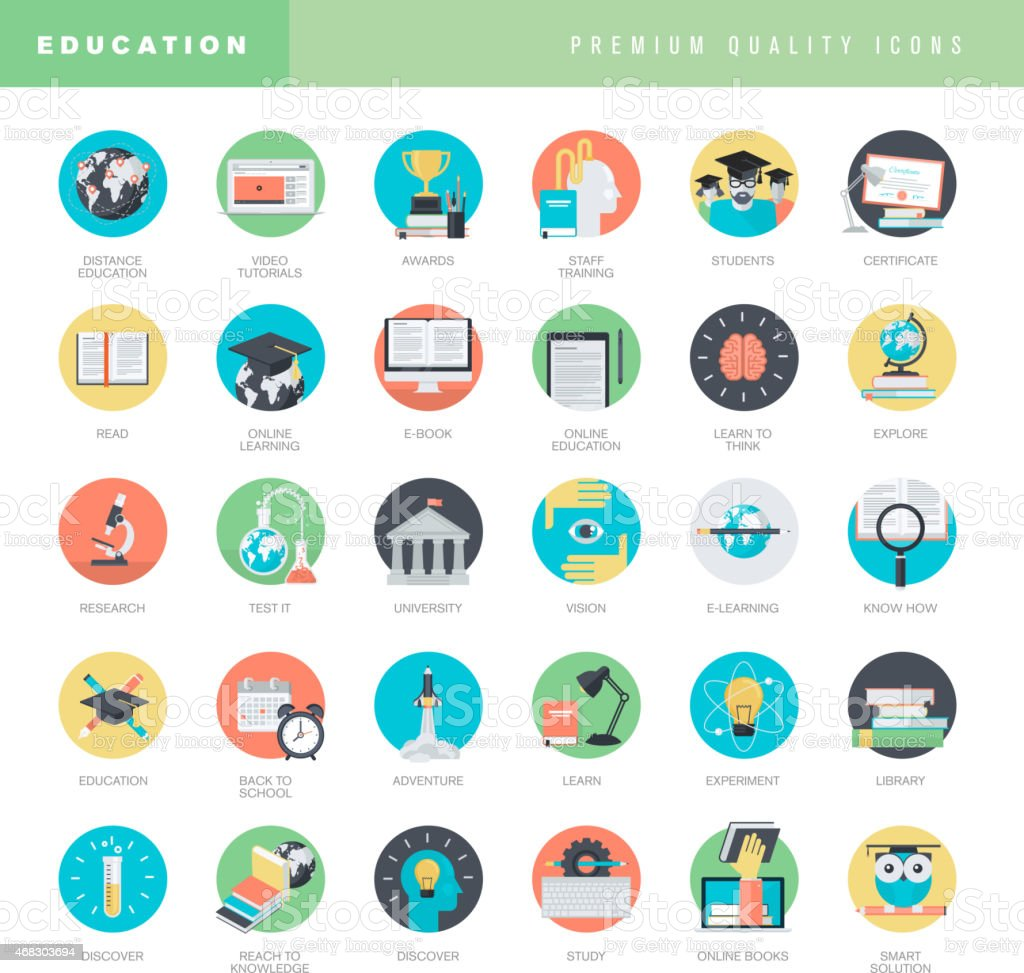 Conjunto de iconos de diseño plano para la educación illustracion libre de derechos libre de derechos
