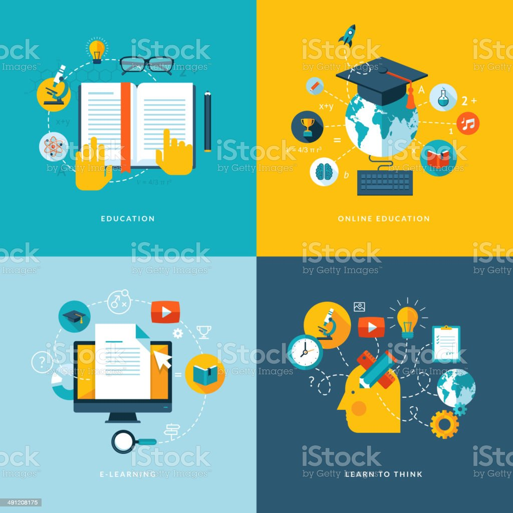 Set of flat design icons for education royalty-free stock vector art