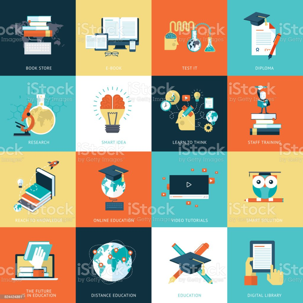 Set of flat design icons for education vector art illustration