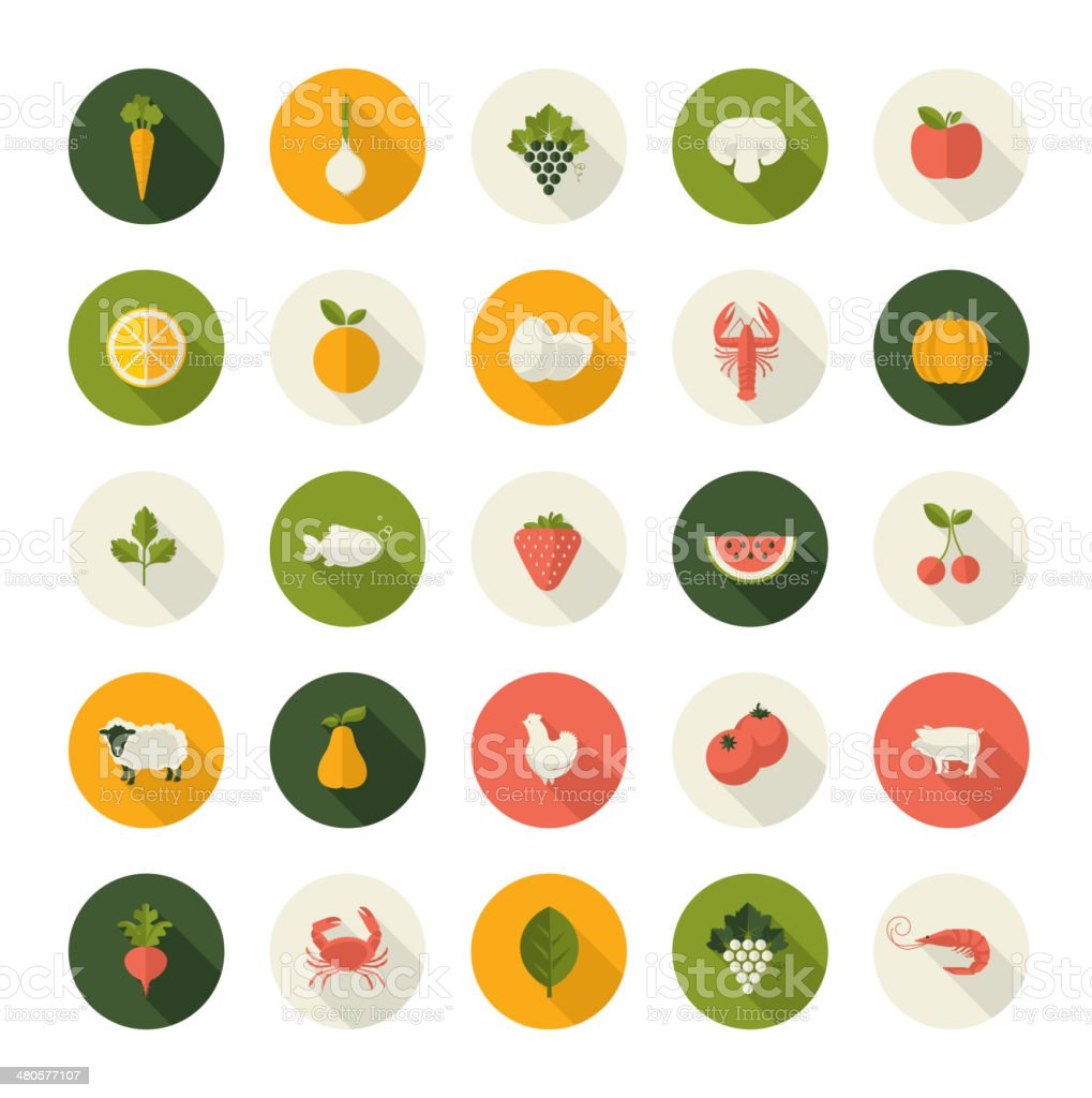 Set of flat design icons for food and drink vector art illustration