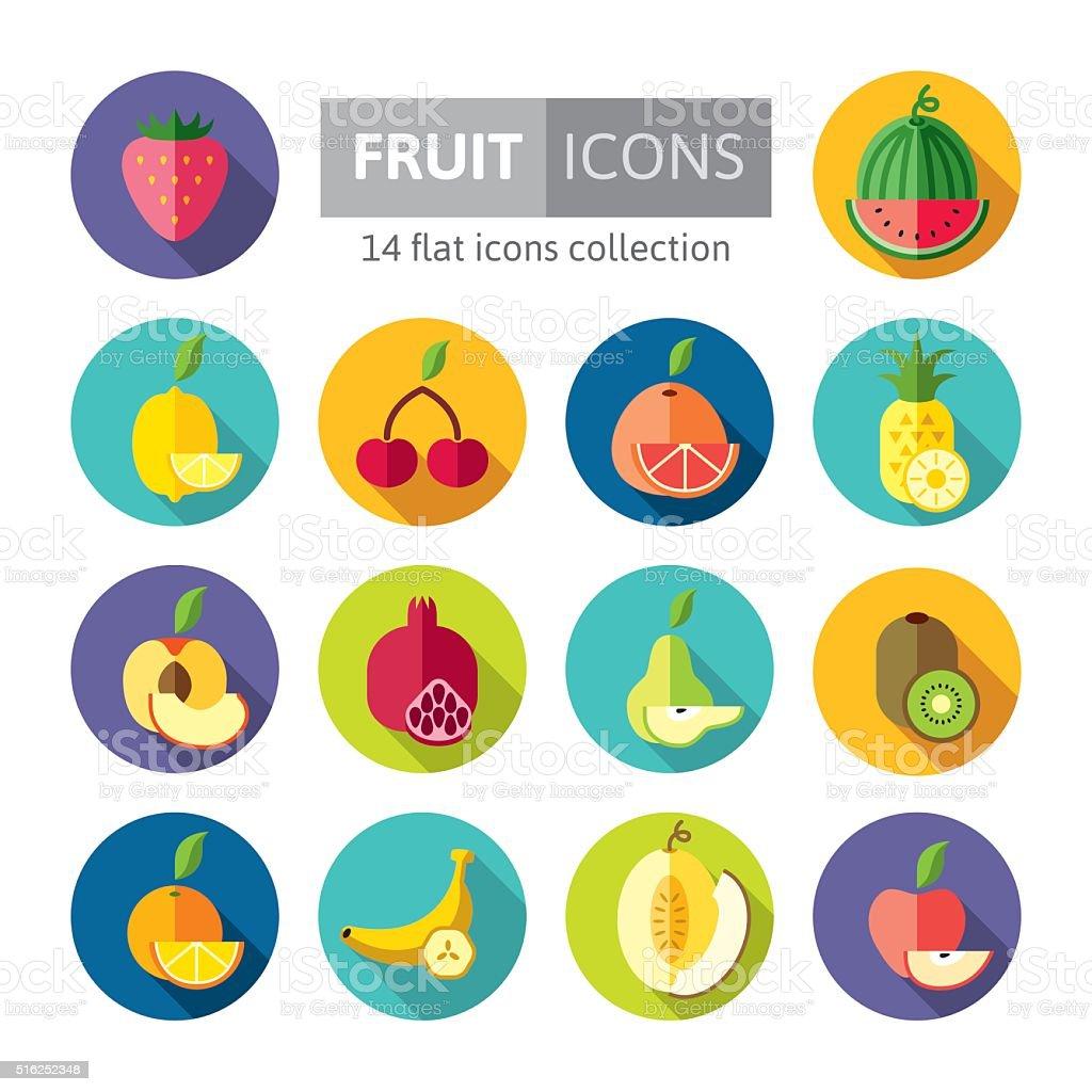 Set of flat design icons for fruits vector art illustration