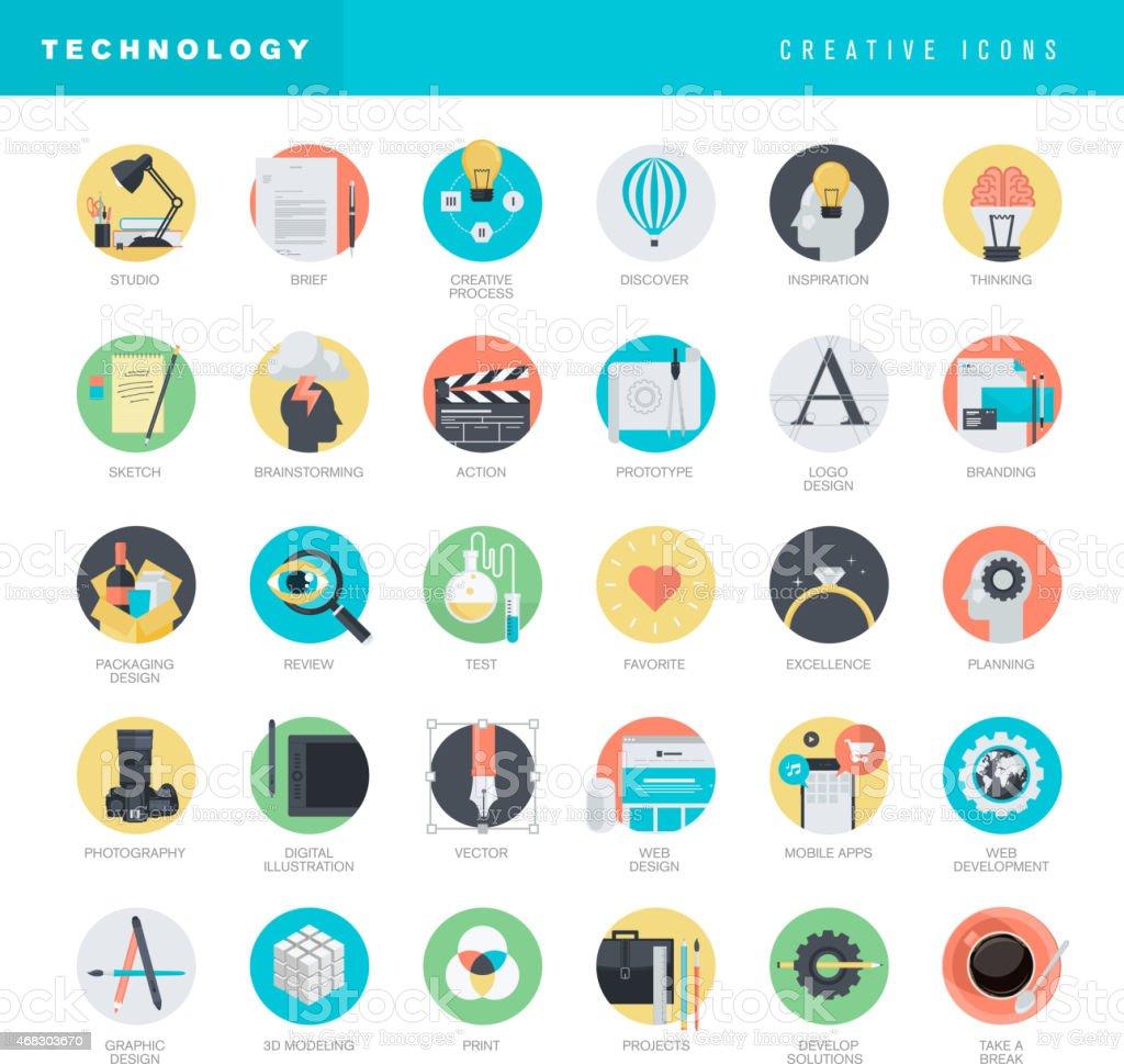 Conjunto de iconos de diseño plano para web y diseño gráfico illustracion libre de derechos libre de derechos