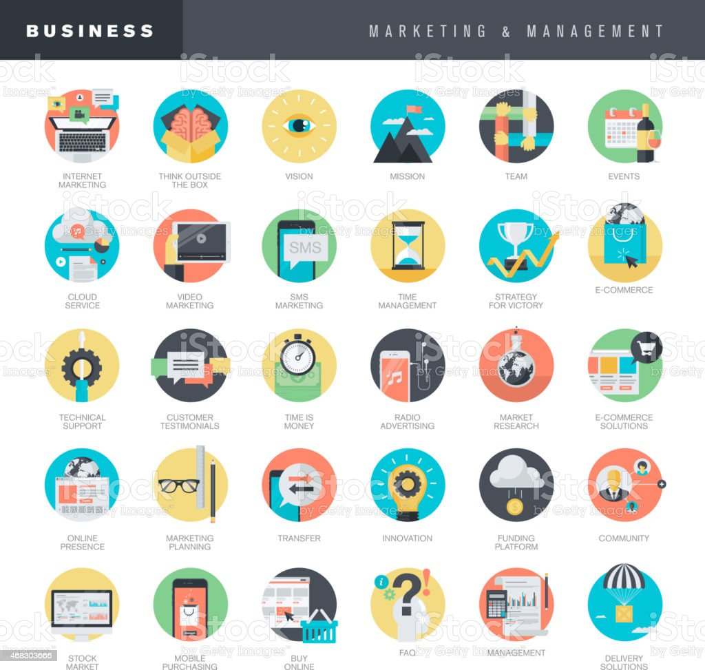 Set of flat design icons for marketing and management vector art illustration