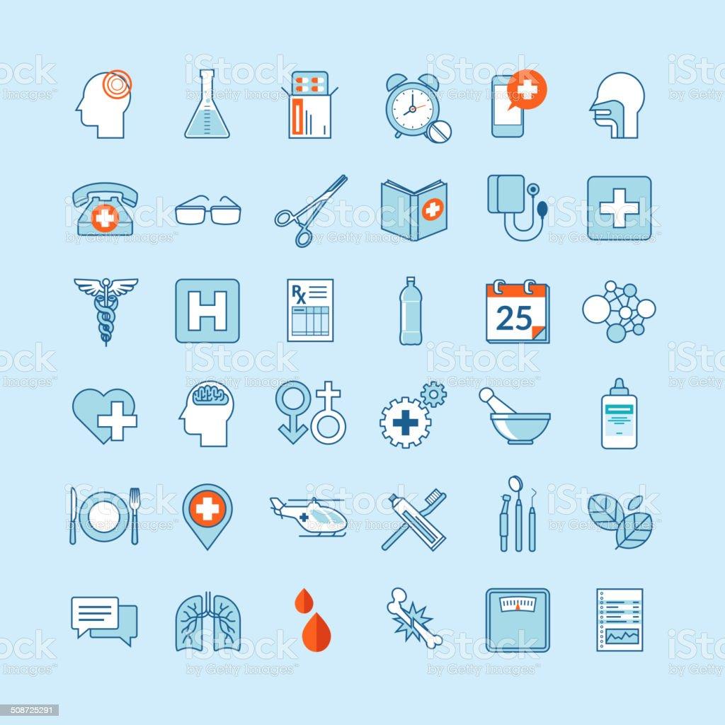 Conjunto de diseño plano iconos de medicina y salud illustracion libre de derechos libre de derechos