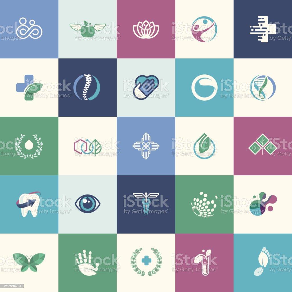 Conjunto de iconos de diseño plano para la medicina illustracion libre de derechos libre de derechos