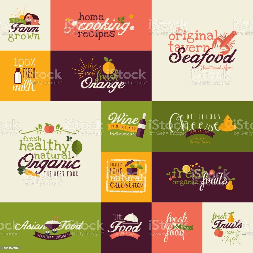 Conjunto de iconos de diseño plano para natural de alimentos y bebidas illustracion libre de derechos libre de derechos