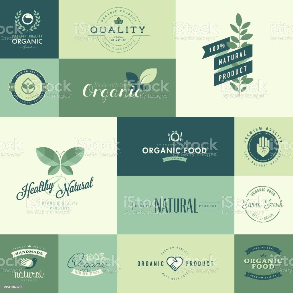 Conjunto de iconos de diseño plano para productos orgánicos naturales illustracion libre de derechos libre de derechos